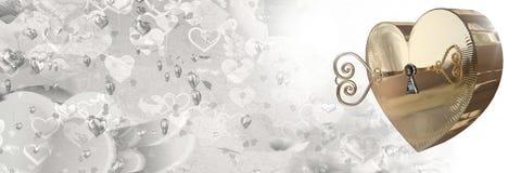 Serratura a chiave del cuore di amore dei biglietti di S. Valentino Fotografia Stock