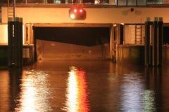 Serratura del canale alla notte Fotografie Stock Libere da Diritti