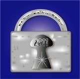 Serratura del metallo per il nuovo anno 2011 Fotografia Stock Libera da Diritti