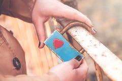 Serratura della tenuta della ragazza Simbolo di fedeltà e di amore immagine stock libera da diritti