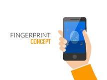 Serratura di Access dello Smart Phone dell'impronta digitale, illustrazione piana di vettore di sicurezza di ricerca delle mani d Immagine Stock
