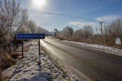 Serratura di Buscot nella neve di inverno fotografia stock