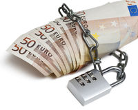 Serratura di combinazione ed euro Fotografie Stock Libere da Diritti