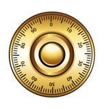 Serratura di manopola dorata di combinazione Fotografie Stock Libere da Diritti