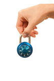 Serratura di manopola matrice locked blu di combinazione a disposizione immagine stock libera da diritti