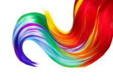 Serratura multicolore dei capelli isolata sopra bianco Immagini Stock Libere da Diritti