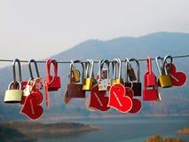 Serrature di amore che appendono sopra il lago immagini stock libere da diritti