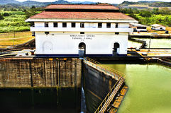 Serrature di Miraflores, canale di Panama Fotografia Stock Libera da Diritti