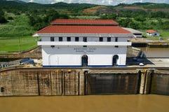 Serrature di Miraflores sul canale di Panama Fotografie Stock Libere da Diritti