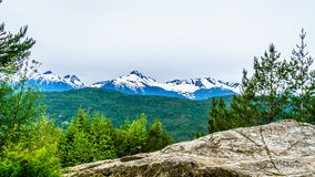 Serratus Mountain and Mount Tantalus. Viewed from Highway 99 near the town of Squamish British Columbia Stock Photos