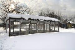Serre chaude pendant l'hiver Photos stock
