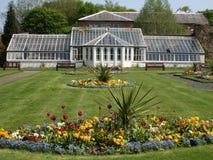 Serre chaude victorienne et jardin d'agrément. Images stock