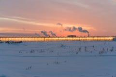 Serre d'ardore contro il contesto di un tramonto Fotografia Stock Libera da Diritti