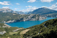 Serre-Ponçon Lake (Alp- France). The 123m-high dam was started in 1955, built from an alluvial clay soil from the bed of the Durance Stock Images