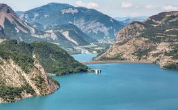 Serre-Poncon湖- Alpes -法国 库存照片