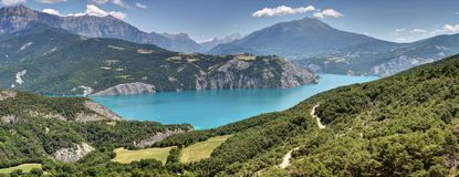 Serre-Poncon lake - Alpes - France. Landscapes of Serre-Poncon lake - Alpes - France - landscapes of mountains Royalty Free Stock Photo