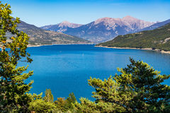 Serre-Poncon Lake in Summer. French Alps, Hautes-Alpes, France Stock Photos