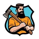 Serrería, carpintería, logotipo de la carpintería o etiqueta Leñador que sostiene el hacha sus manos Ilustración del vector de la ilustración del vector