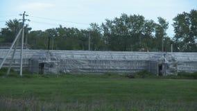 Serres op verlaten landbouwbedrijf stock video