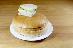 Serrez la boîte avec l'hamburger de poulet, tomates, jambon, le thon, fromage sur la table en bois photos libres de droits