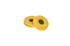 Serrez les biscuits avec la pomme de crème aromatisée par pomme et de kiwi Image stock