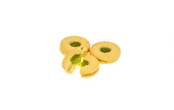 Serrez les biscuits avec la pomme de crème aromatisée par pomme et de kiwi Photographie stock libre de droits
