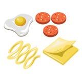Serrez les icônes d'isolement par appartement de vecteur de prêt-à-manger de constructeur d'ingrédients d'aliments de préparation Photos stock