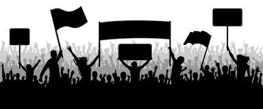 Serrez les personnes avec le transparent, protestant, démonstration, silhouette Photographie stock libre de droits