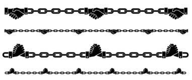 serrez-vous la main le symbole à chaînes sur le backgroud d'isolement Photographie stock libre de droits