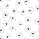 Serrulata do Prunus - flor de cerejeira, Sakura Outline Seamless Background Ilustração do vetor ilustração royalty free