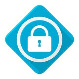 Serrure bleue d'icône avec la longue ombre Photo libre de droits