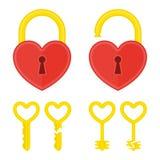 Serrure de coeur avec la clé Images stock