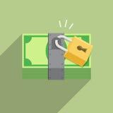 Serrure de protection de sécurité de sécurité sur la facture d'argent Illustration de Vecteur
