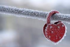 Serrure en forme de coeur congelée comme symbole Photographie stock