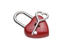 Serrure en forme de coeur minuscule, cadenas Images libres de droits