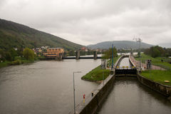 Serrure et barrage chez Klingenberg Photographie stock libre de droits