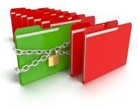 Serrure et chaîne de sécurité avec des dossiers Image stock
