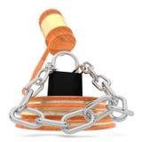 Serrure et chaînes écrasées par le marteau de juge - renderi du concept -3d de LOI Images stock