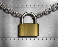 Serrure fermée avec des chaînes sur le fond en métal Photographie stock