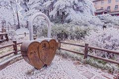Serrure géante - symbole de l'amour et du mariage par l'hôtel Images libres de droits