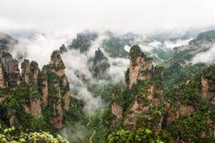 Serrure Zhangjiajie de brouillard photographie stock