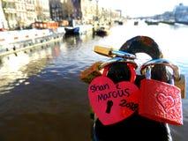 Serrures d'amour à Amsterdam Image libre de droits