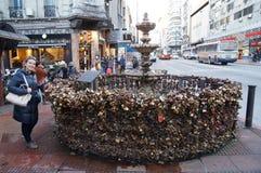 Serrures d'amour à Montevideo Images libres de droits