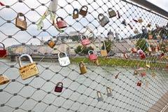 Serrures d'amour à Salzbourg Image libre de droits