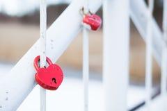 Serrures d'amour de mariage sur le pont Image stock
