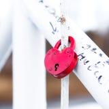 Serrures d'amour de mariage sur le pont Image libre de droits