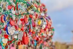 Serrures d'amour symbolisant le mariage et l'engagement Image stock