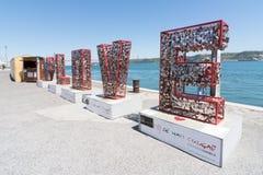 Serrures de l'amour à Lisbonne, Portugal Photo libre de droits