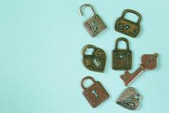 Serrures et clés en métal Photo stock