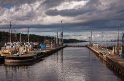 Serrures sur le canal maritime de Manchester, Angleterre Photographie stock libre de droits